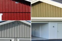 Att våra garage/fritidshus har en specifik utformning hindrar inte personlig anpassning!  Det finns fyra olika paneltyper att välja mellan: Stående profilpanel, lockpanel, ribbpanel eller liggande enkelfas fals. Alla våra paneler är grundmålade.